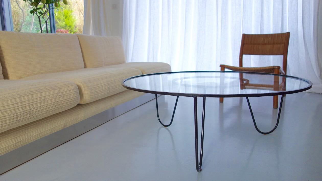 table basse bellevue 1956. Mathieu Matégot. Métal et verre 100cm x 38cm