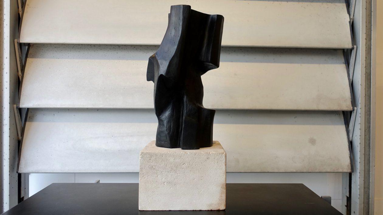 Sculpture en bois n,oirci de Marc Lerude. H: 50cm x l: 20cm (bois)